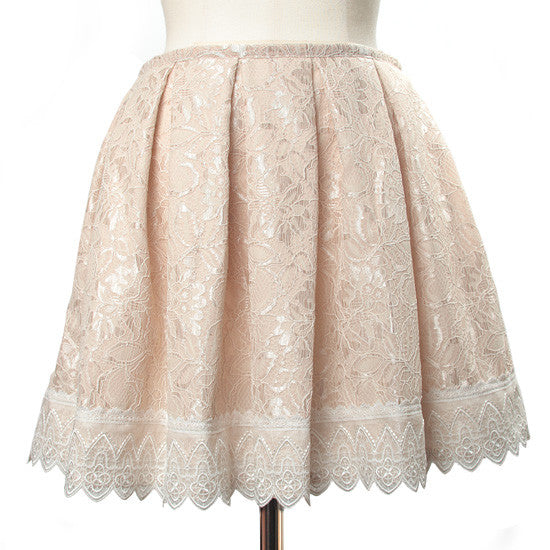 "abilletage ""Double lace tacked skirt pink beige"""