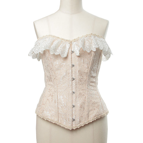 "abilletage ""Double lace long corset pink beige"""