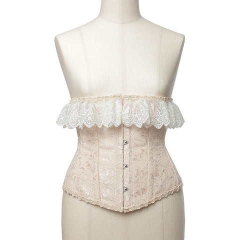 "abilletage ""Double lace short corset pink beige"""