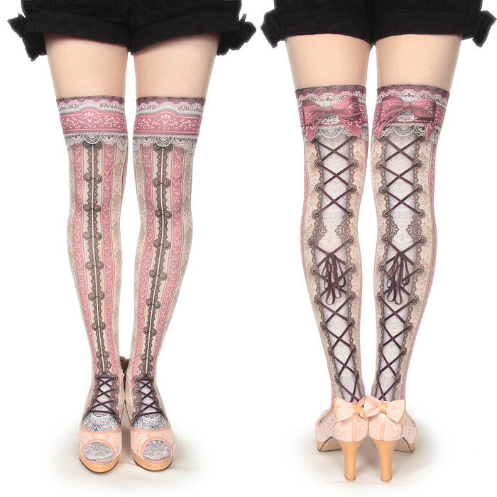 "abilletage ""corset over knee socks chantegram stripe-pink- """