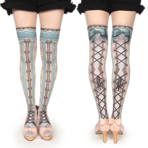 "abilletage ""corset over knee socks chantegram stripe-mint-"""