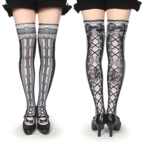 "abilletage ""corset over knee socks chantegram stripe-black-"""