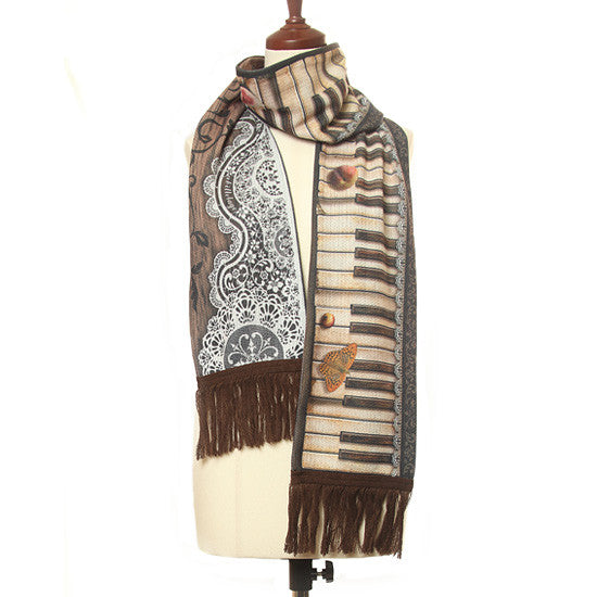 "abilletage ""Antique piano scarf brown"""