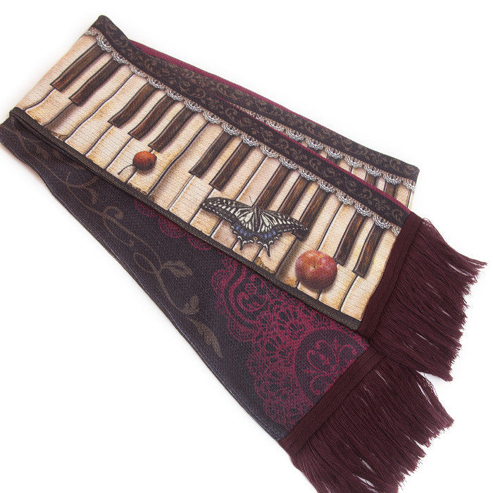 "abilletage ""Antique piano scarf -bordeaux-"""