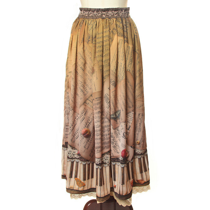 "abilletage ""Antique piano skirt long"""
