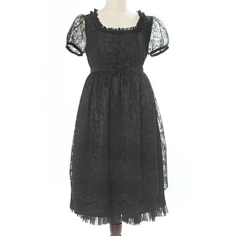 "abilletage ""Flower Lace Puff Sleeve Dress"" Black"