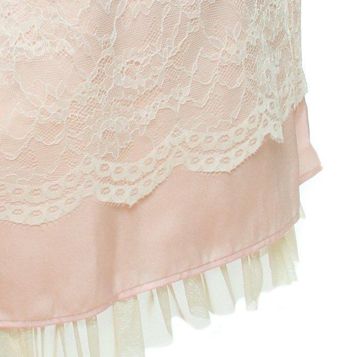 "abilletage ""Flower Lace Puff Sleeve Dress"" Pink"