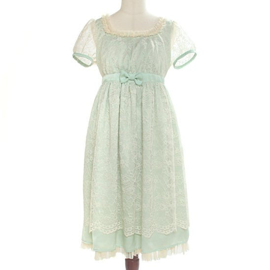 "abilletage ""Flower Lace Puff Sleeve Dress"" Mint"