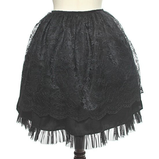 "abilletage ""Flower Lace Gathering Skirt"" Black"