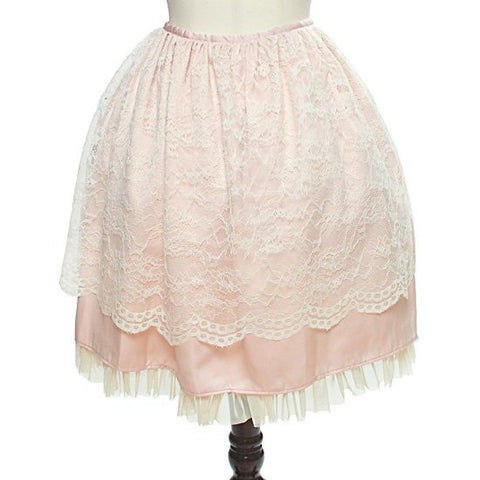 "abilletage ""Flower Lace Gathering Skirt"" Pink"