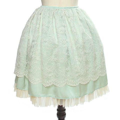 "abilletage ""Flower Lace Gathering Skirt"" Mint"