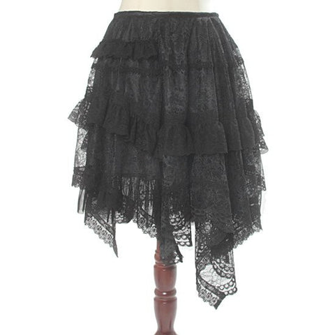 "abilletage ""Flower Lace Asymmetry Skirt"" Black"