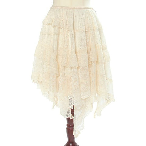 "abilletage ""Flower Lace Asymmetry Skirt"" Ivory"