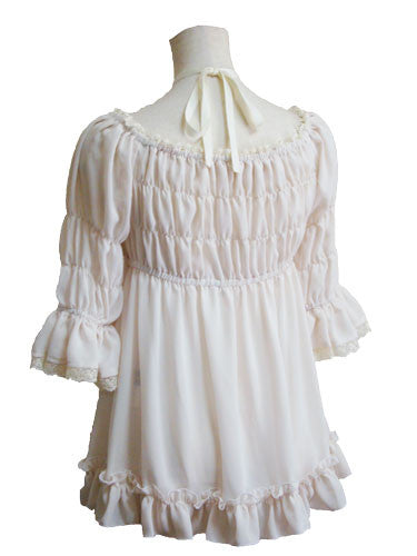 "ATELIER PIERROT ""Half sleeves Shirring Blouse"" -egg shell-"