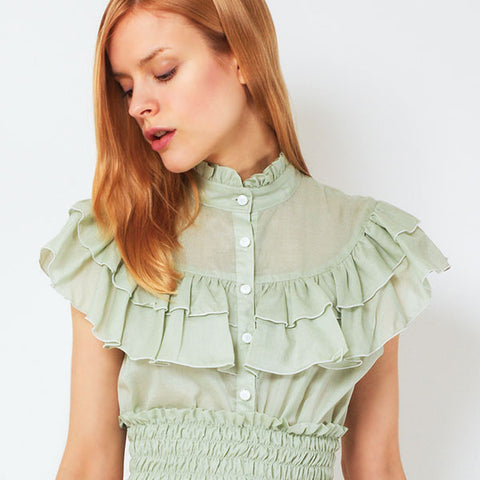 "EXCENTRIQUE ""'15SU Loan Frill Blouse"" L.GREEN"