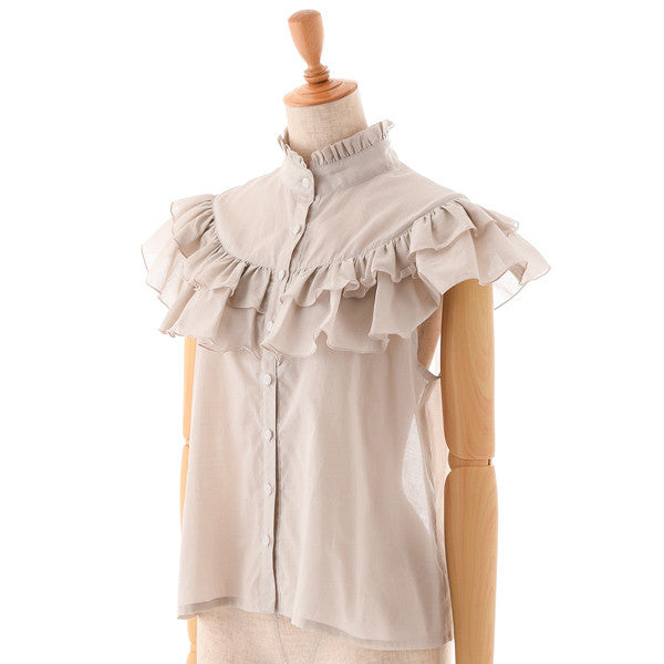 "EXCENTRIQUE ""'15SU Loan Frill Blouse"" GREIGE"