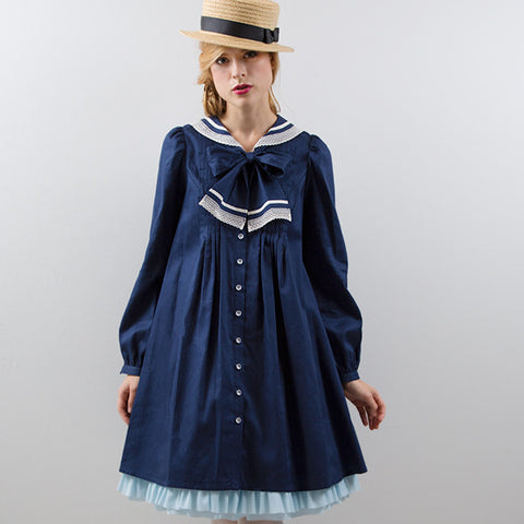 EXCENTRIQUE '16SP Lace Sailor Dress NAVY