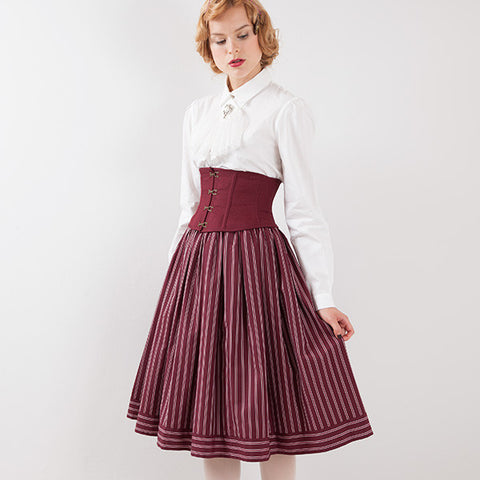 EXCENTRIQUE 15A Regimental Corset Skirt BORDEAUX
