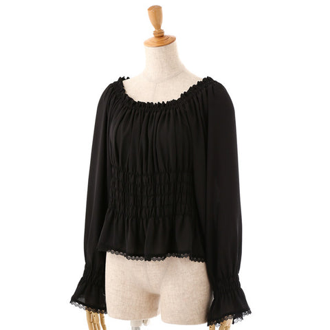 EXCENTRIQUE '15SP Georgette Shirring Blouse BLK