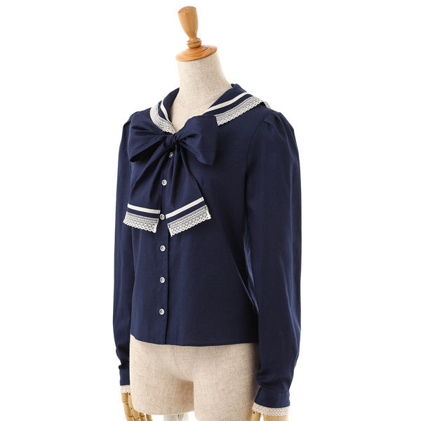 EXCENTRIQUE '16SP Lace Sailor Blouse NAVY