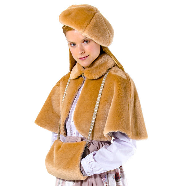EXCENTRIQUE '15W Fur Cape with Muff CINNAMON