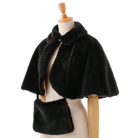 EXCENTRIQUE '15W Fur Cape with Muff BLK