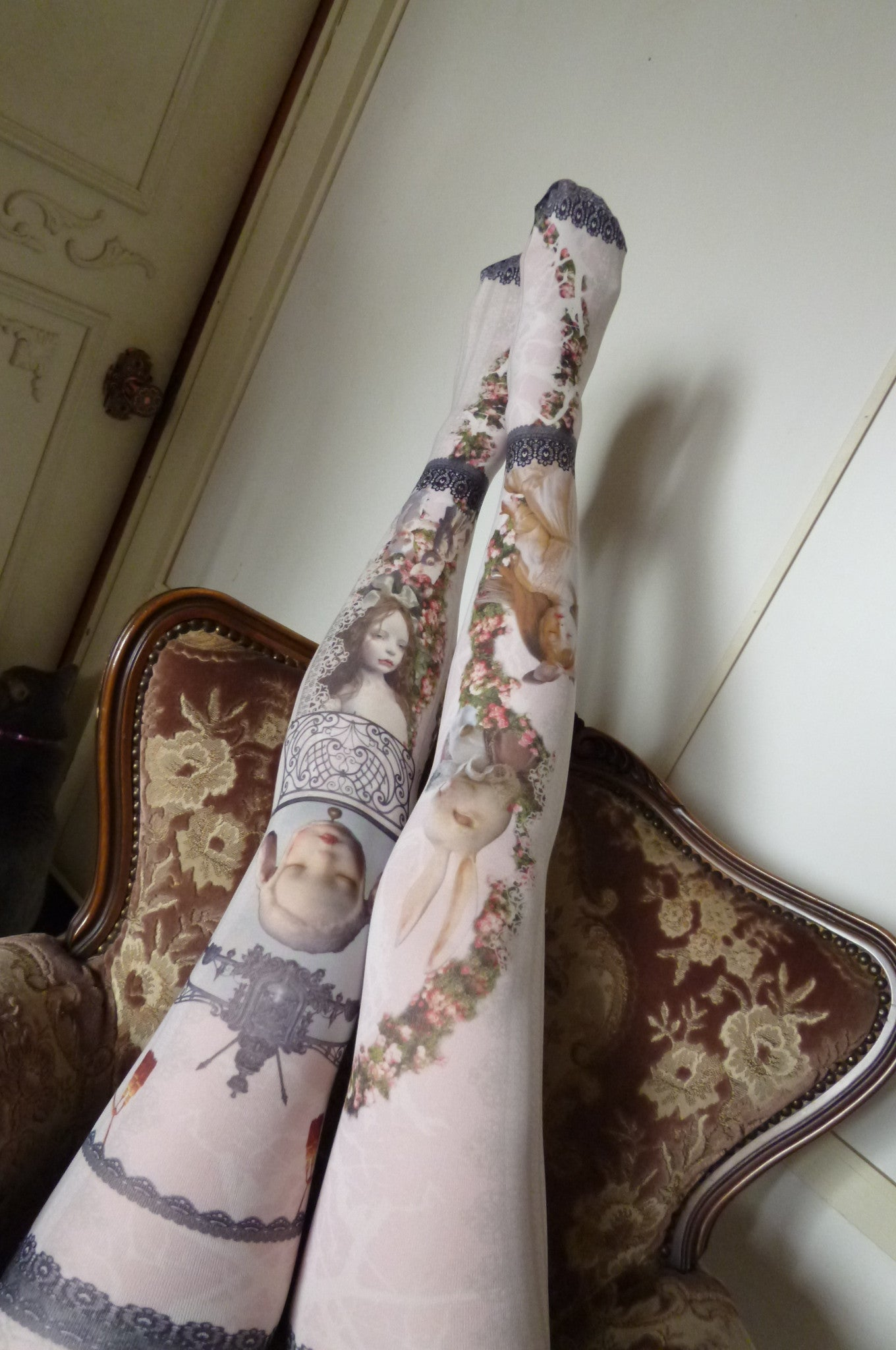 "Morun×Muuna Stoik ""Rose garden Doll Tights(pink)"""