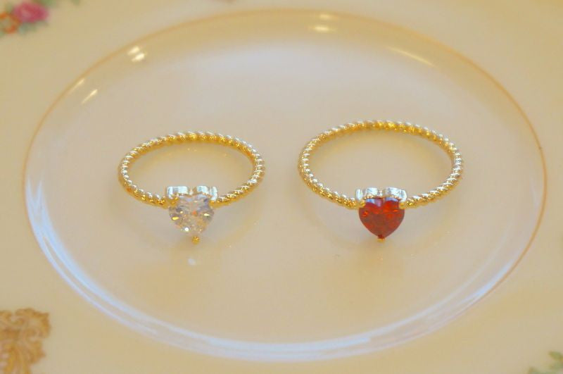 RoseMarie seoir double heart ring (red ×transparent )