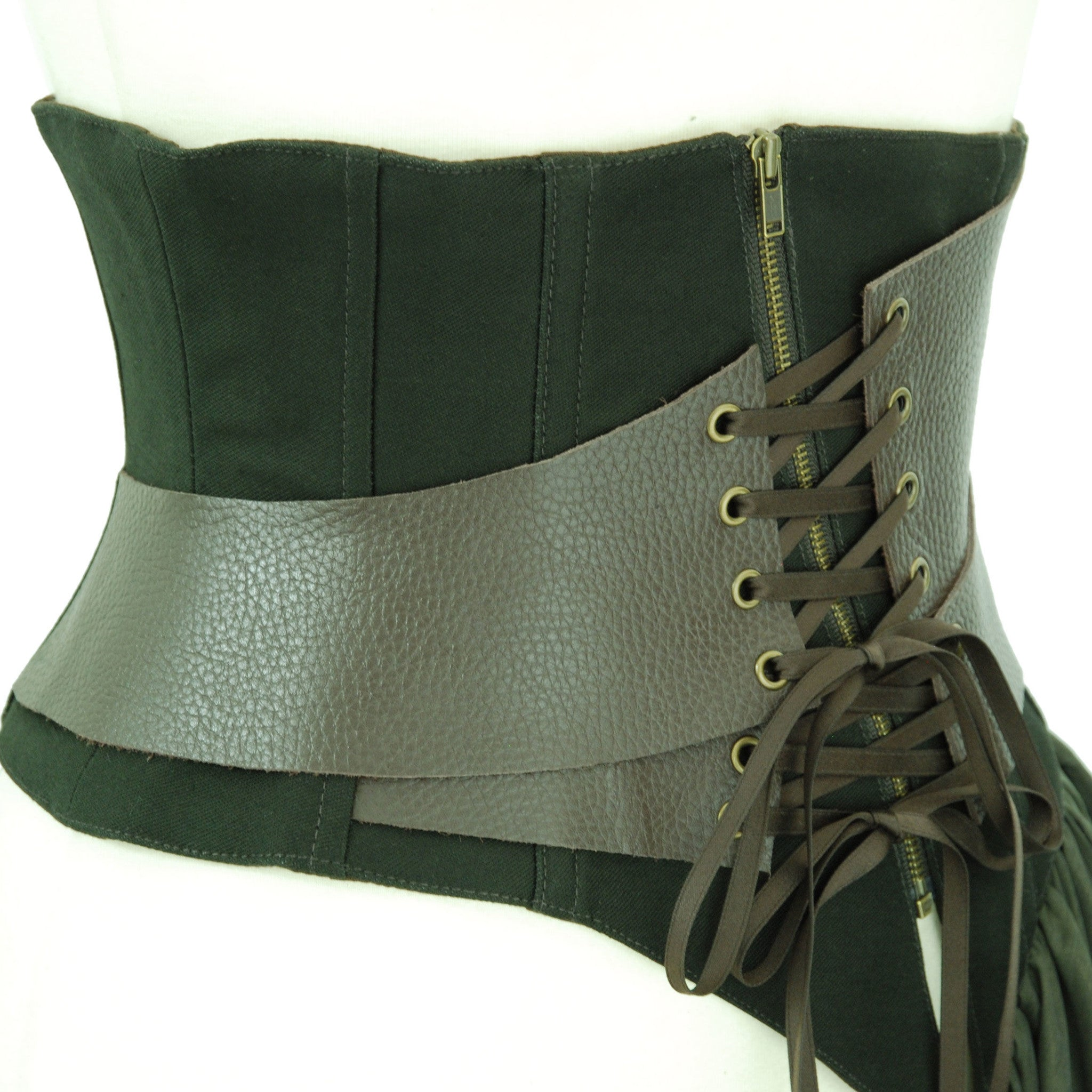 "Sheglit  ""Restraint"" Leather Corset khaki"