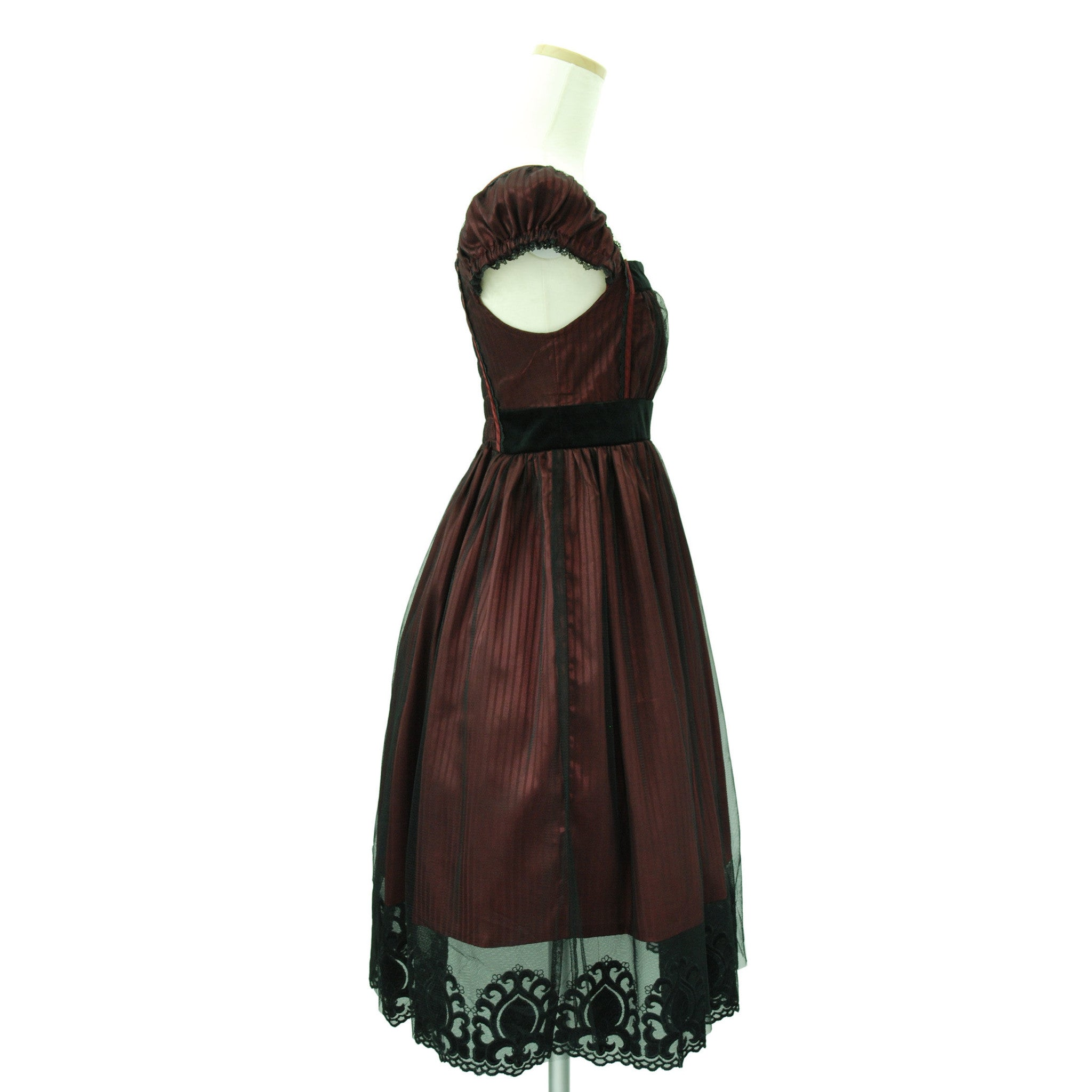 Sheglit Shadow Stripe Tulle Dress bordeaux