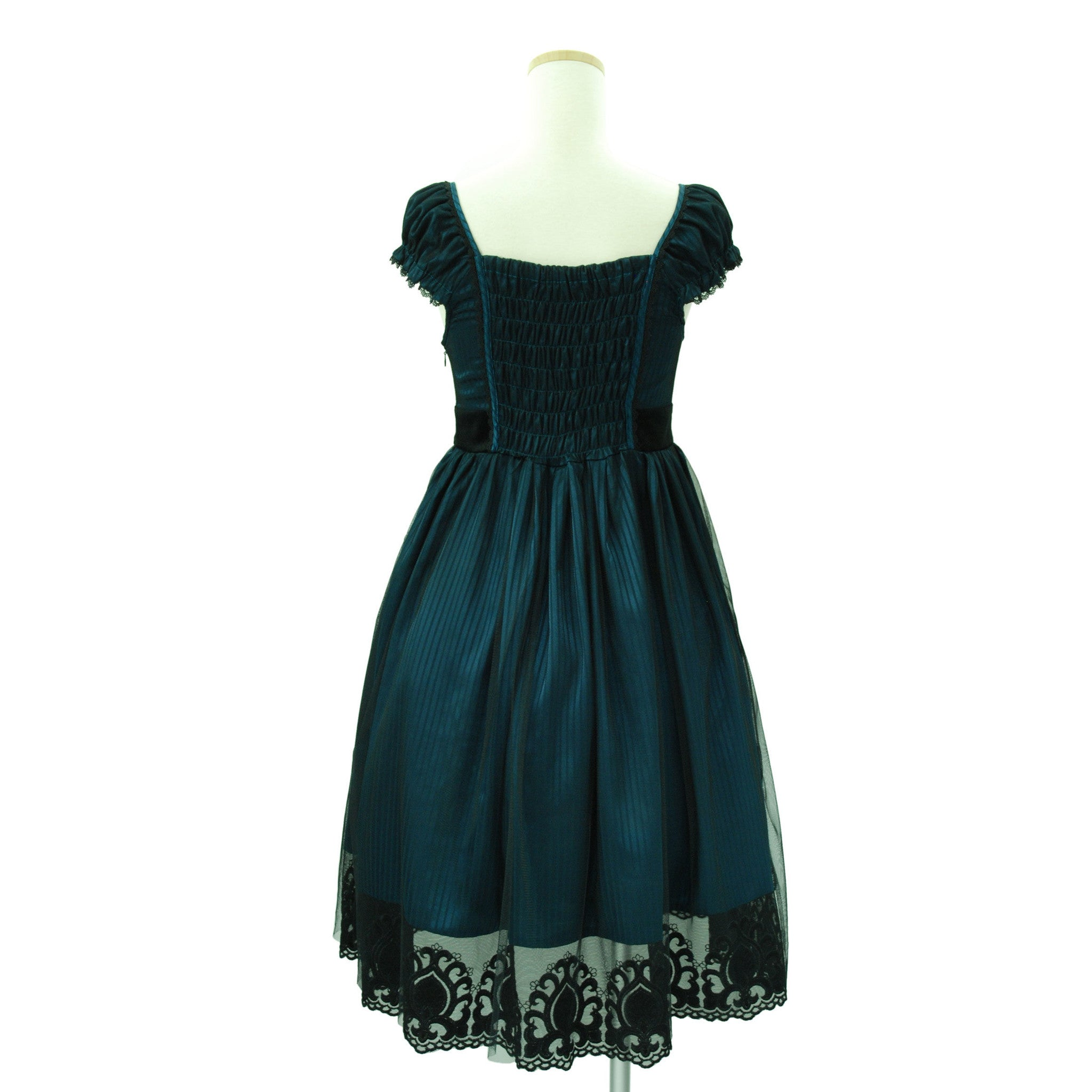Sheglit Shadow Stripe Tulle Dress emerald blue