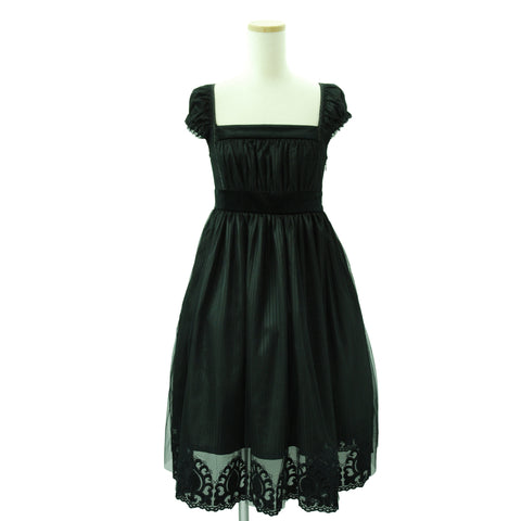 Sheglit Shadow Stripe Tulle Dress black