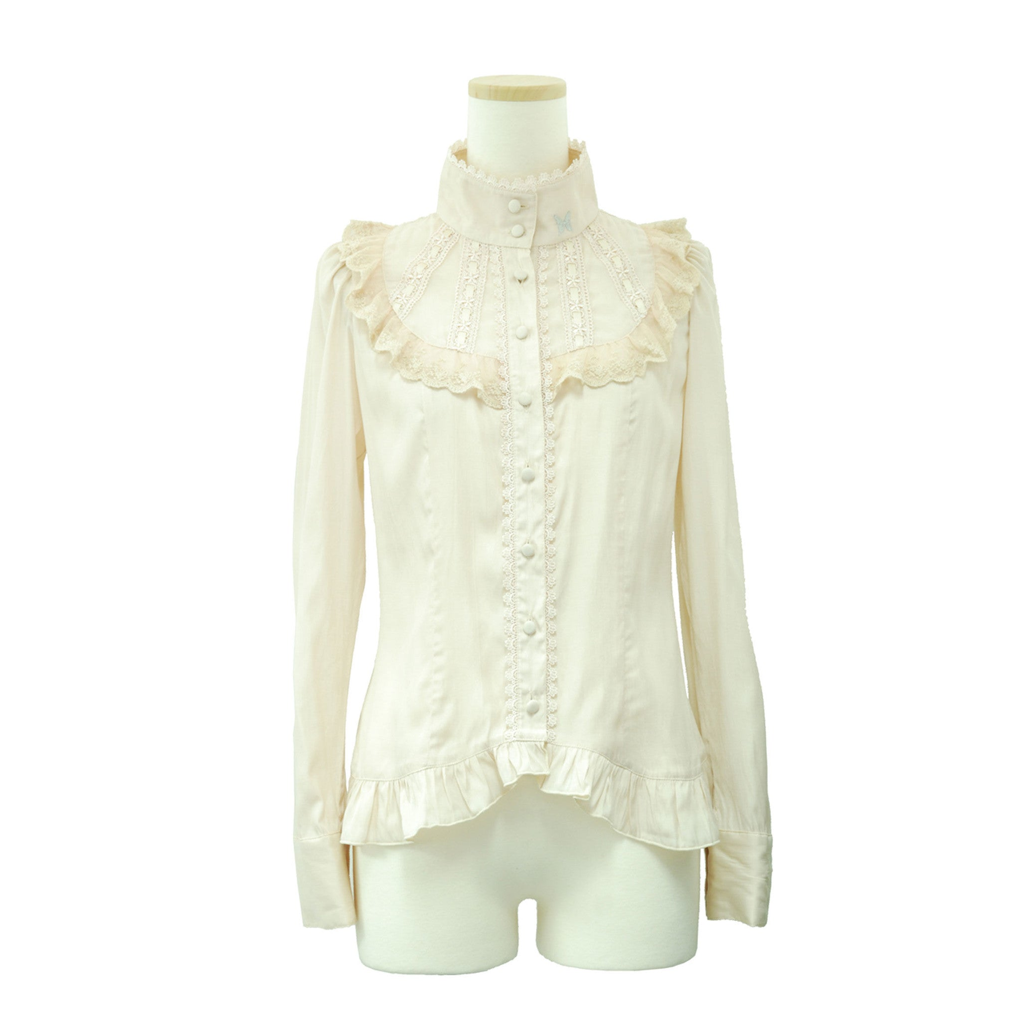 "Sheglit ""Stand collar frilled blouse (ivory)"""