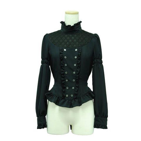 "Sheglit ""Double buttoned classical blouse (black)"""
