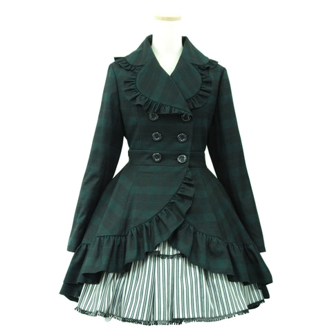 "Sheglit ""Long tail frill coat dark green"""