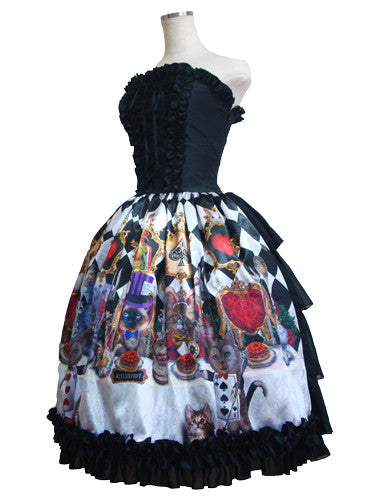 ATELIER PIERROT Cats tea party -Alice in wonderland- Corset Dress / Diamond