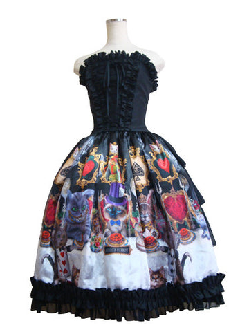 ATELIER PIERROT Cats tea party -Alice in wonderland- Corset Dress /Mysterious Clock