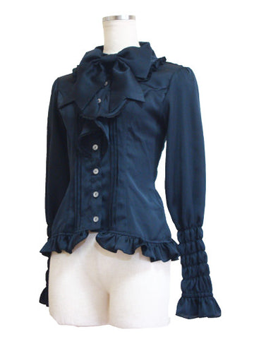 【 ATELIER PIERROT】Cats tea party -Alice in wonderland- Blouse Black