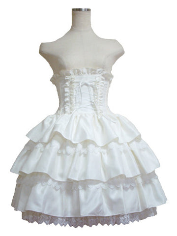 ATELIER PIERROT Tiered Frills Corset Skirt white