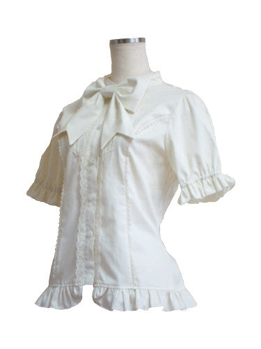 ATELIER PIERROT Short puff sleeves Blouse ivory