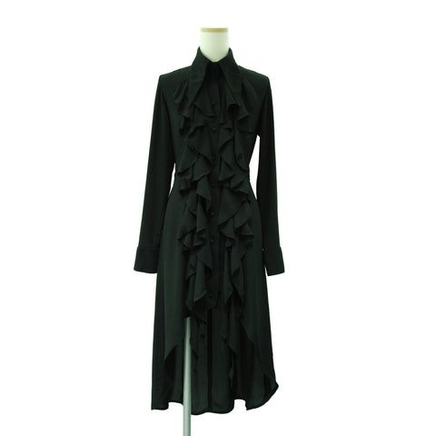 "Sheglit ""Raffle frilled long blouse (black)"""