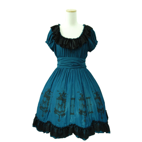 "Sheglit ""Caged Ulysses Dress(emerald blue)"""