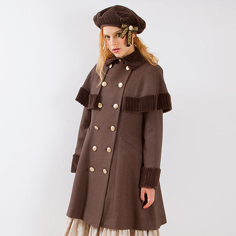 EXCENTRIQUE '15A Herringbone Academia Coat BROWN