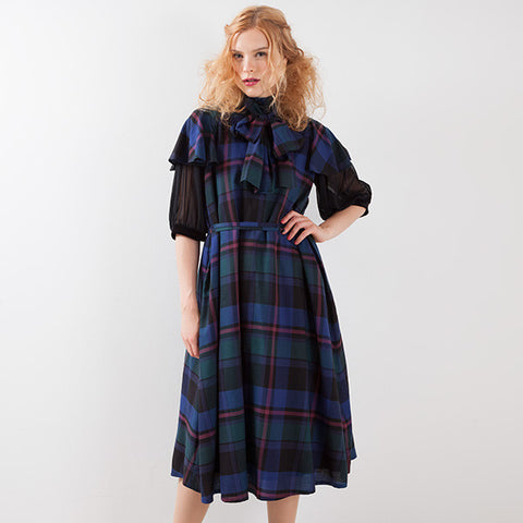 EXCENTRIQUE '15A Viscose Bow Dress CHECK