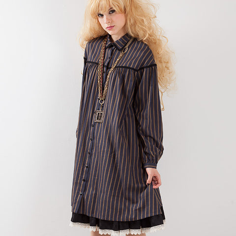 EXCENTRIQUE '15A Viscose Shirt Dress STRIPE