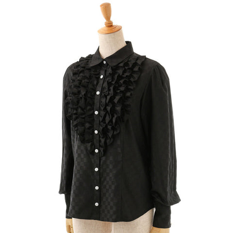 EXCENTRIQUE '15A Checker Frill Shirt BLK