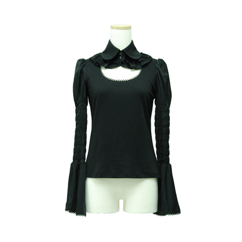 "Sheglit ""Stand collar frill blouse"