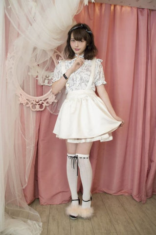 RoseMarie seoir suspender skirt(white)