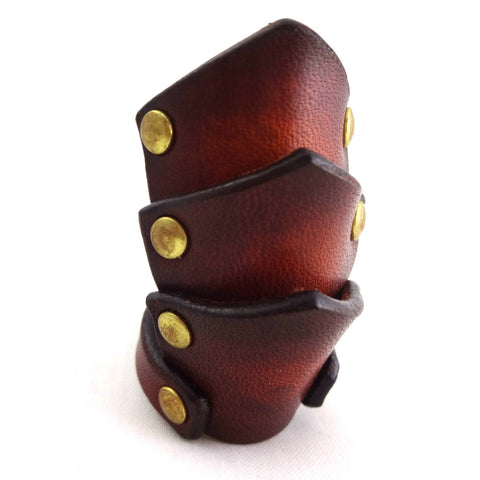 "steampunk leather ring / porch / ribon by Poorman's Gold Label / Strange artifact ""Vintage style leather armor ring"