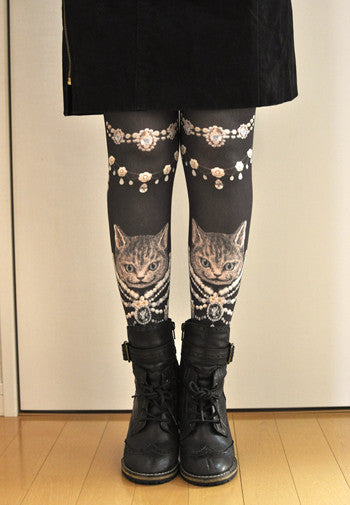"Lilly ""Blinging cat leg feel tights"""